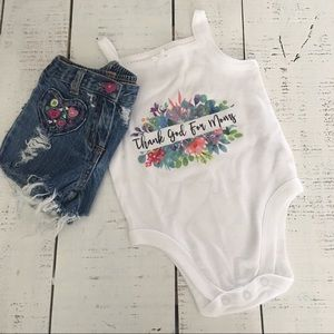 "3-6mo Baby Outfit ""Thank God for Moms"" by HolyHaus"